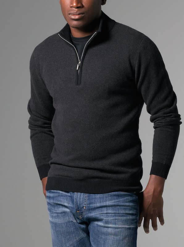 Merino Cashmere Carmel Half-Zip Seedstitch - Brown Heather