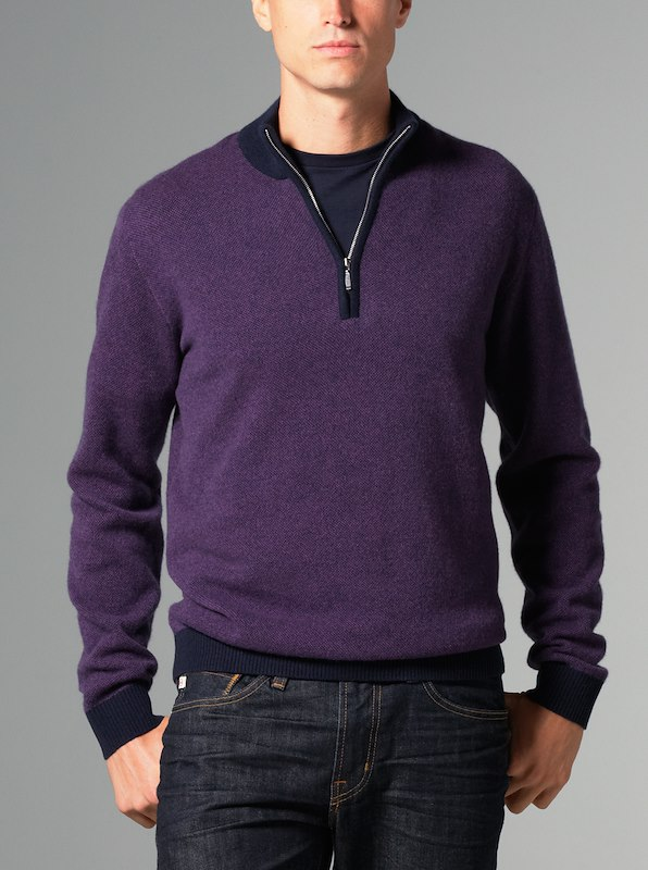 Merino Cashmere Carmel Half-Zip Seedstitch - Regal Purple
