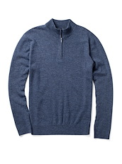 Extra Fine Merino Zip Neck - Harbor Blue