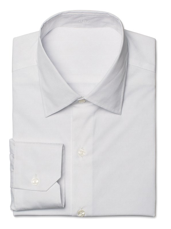 White Pinpoint Oxford Solid