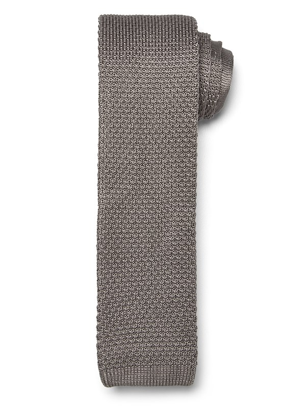 Solid Knit Tie - Tan