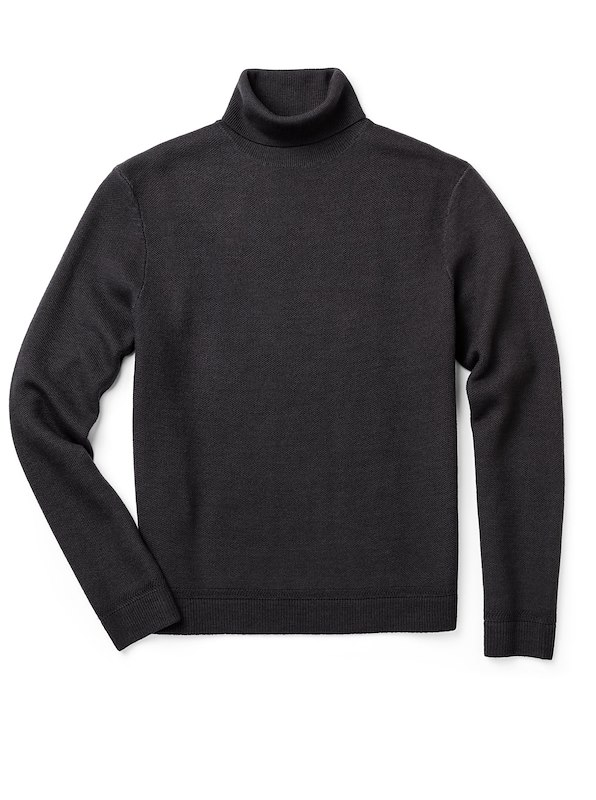 Merino Wool Turtleneck - Dark Charcoal
