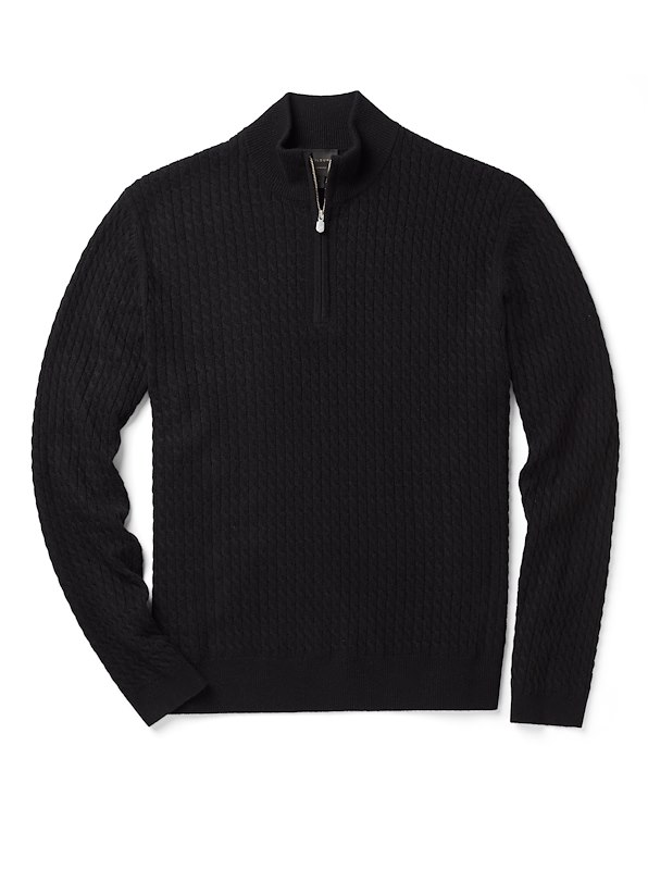 Cashmere Zip Neck - Black Solid