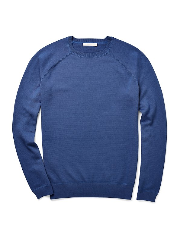 Brushed Cotton Crewneck - Electric Blue