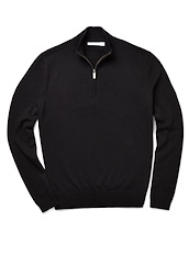 Brushed Cotton Zip Neck - Black