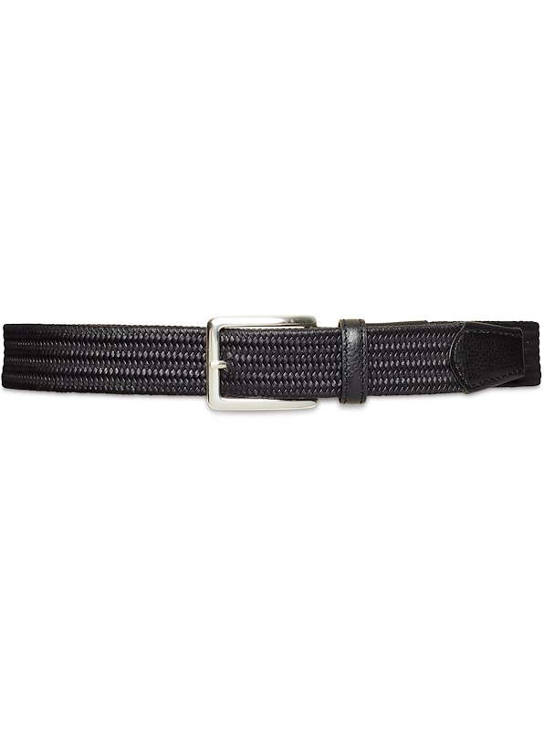 35mm Custom Woven Stretch Leather Belt - Black