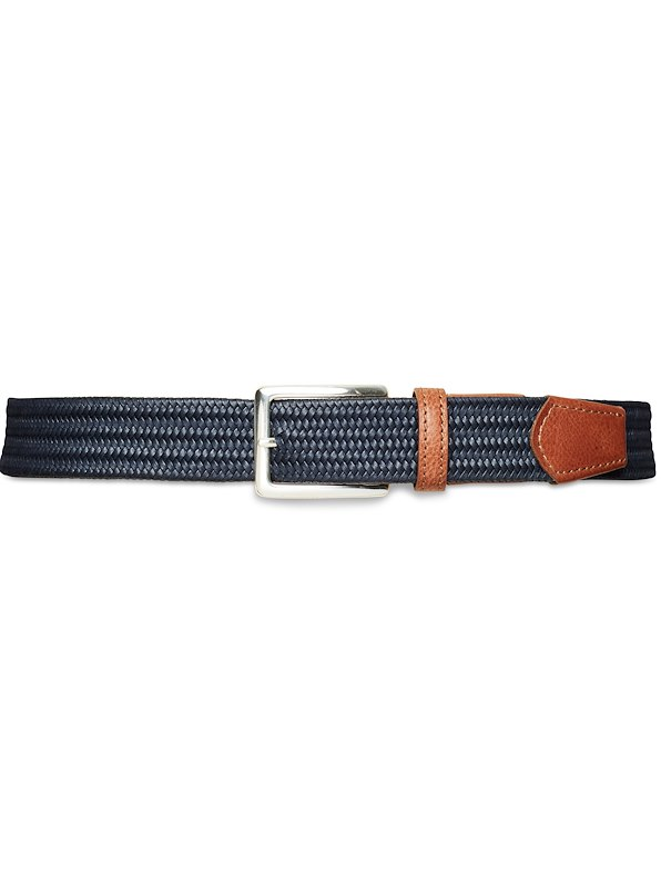 35mm Custom Woven Stretch Leather Belt - Navy