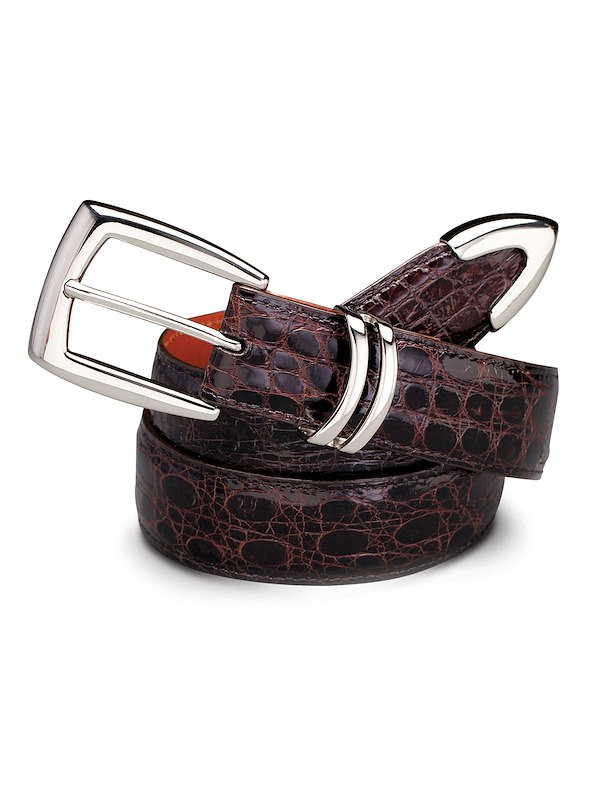 Caiman Crocodile Belt - Silver Tipped Brown