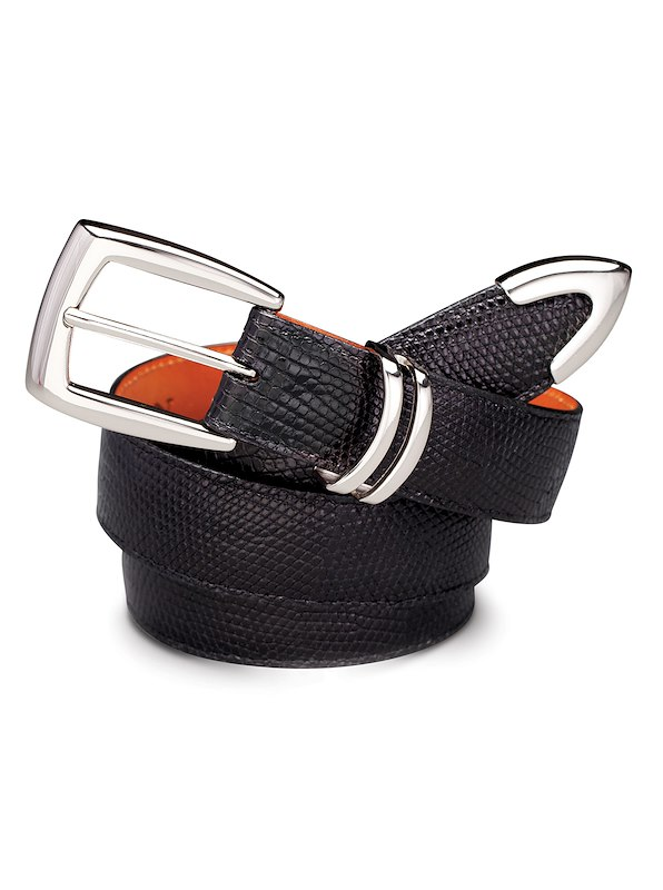Varanus Lizard Belt - Silver Tipped Black