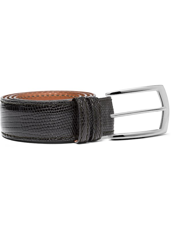 35 MM Custom Varanus Lizard Belt - Black