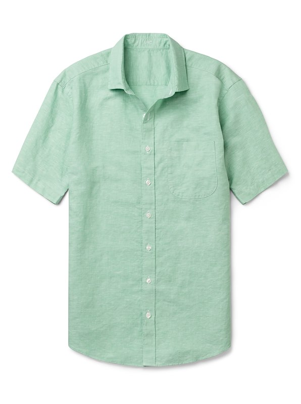 Green Cotton/Linen Solid