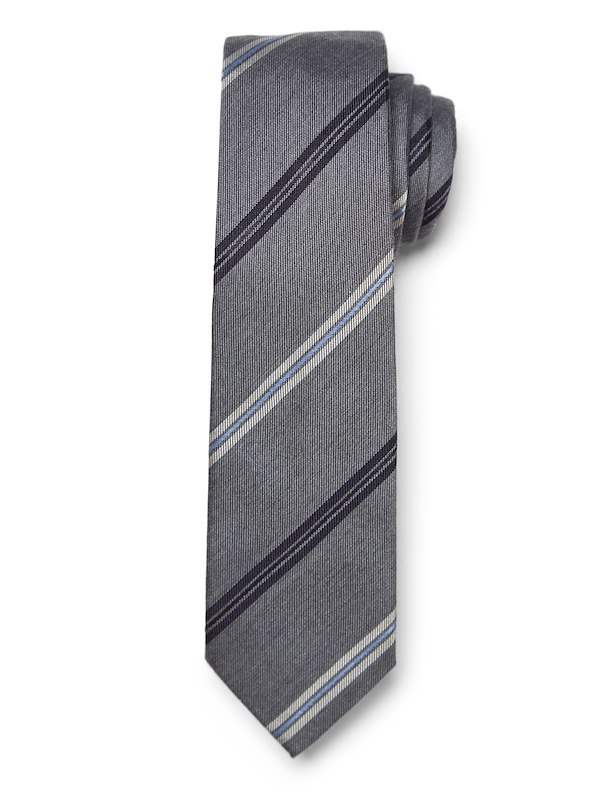Modern Satin Multi Stripe Tie - Grey