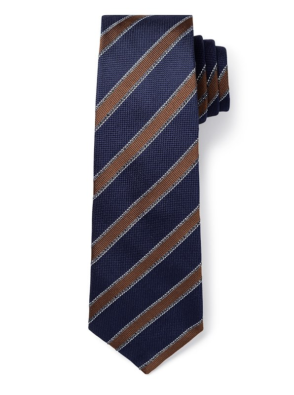 Awning Stripe - Navy/Brown