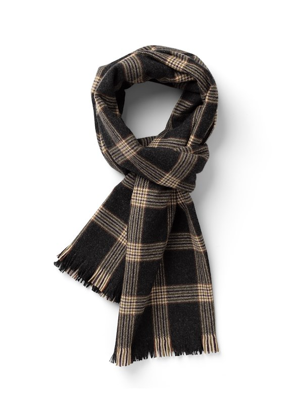 Blanket Check Scarf - Charcoal/Camel