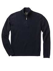 Cashmere Zip Neck - Navy Solid