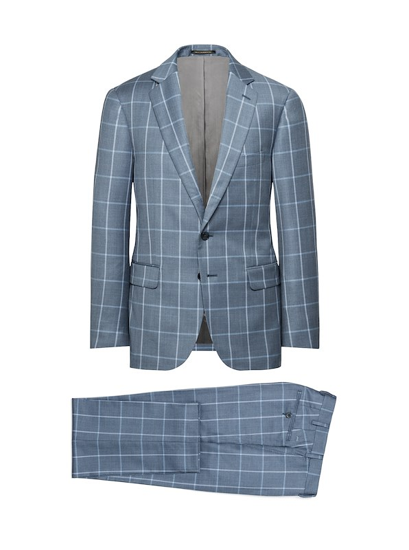 Storm Blue/Light Blue Wool/Cashmere Windowpane