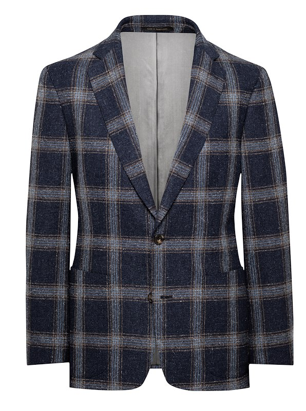 Navy/Brown Wool/Silk Check