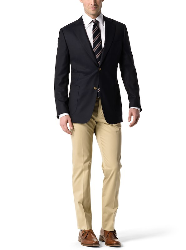 Performance Navy Blazer Double-Twisted Wool