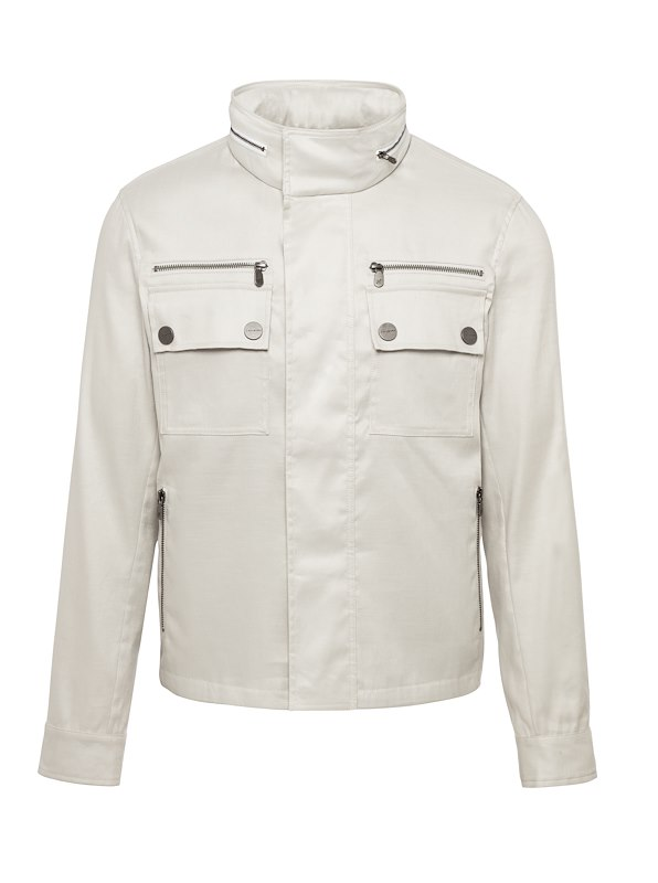 Bone Cotton Linen Moto Jacket