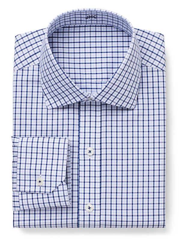 Non-Iron White/Light Blue/Navy Check