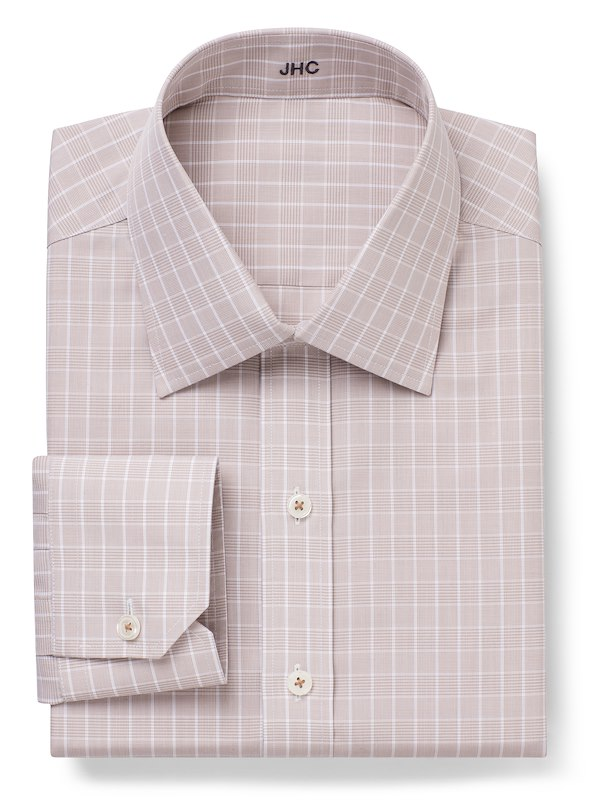 Non-Iron Taupe Plaid Check