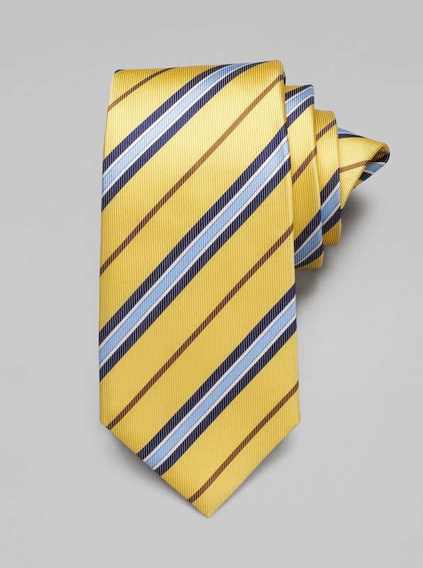 Faille Stripe Tie - Yellow