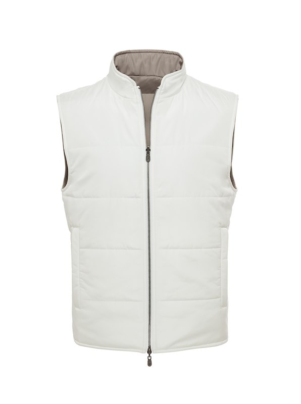 White Solid Brushed Polyester-Reversible Vest