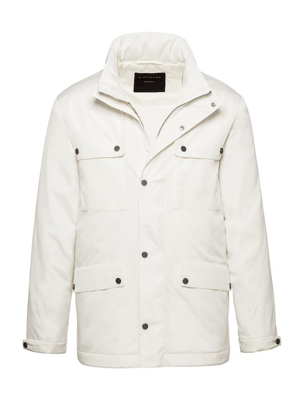 White Solid Brushed Polyester-Tech Field Jacket
