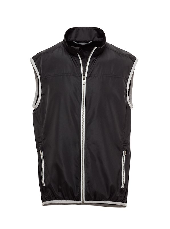 Black Solid Brushed Polyester-Golf Vest