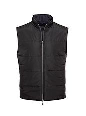 Black Solid Brushed Polyester-Reversible Vest