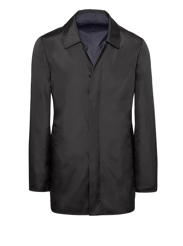 Black Solid Brushed Polyester-Reversible Mac