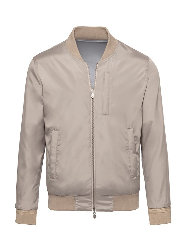 Taupe Solid Brushed Polyester-Reversible Bomber Jacket