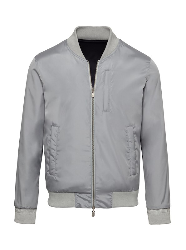 Grey Solid Brushed Polyester-Reversible Bomber Jacket