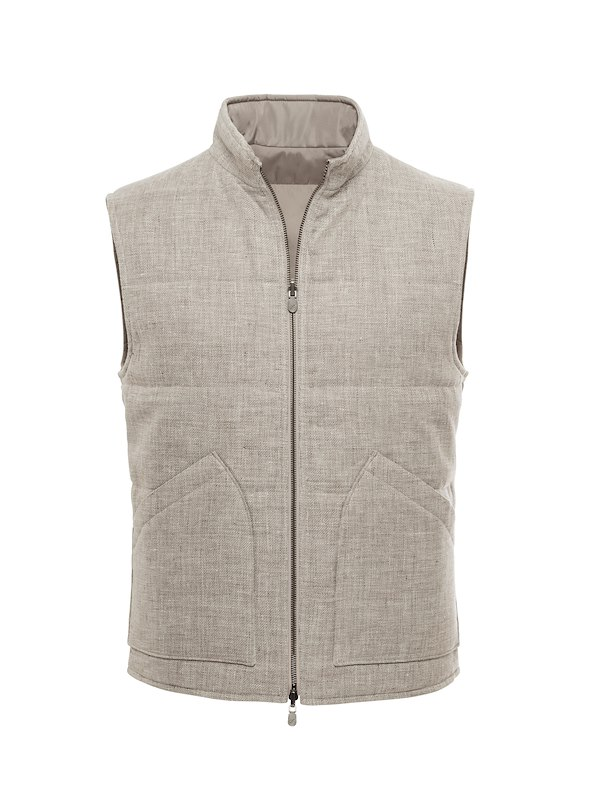 Taupe Textured Solid-Reversible Vest
