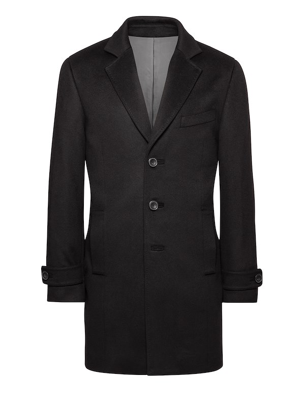 Black Wool-Top Coat