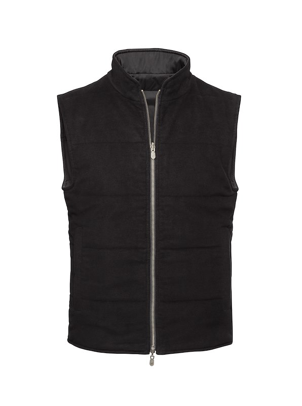 Black Solid Moleskin-Reversible Vest