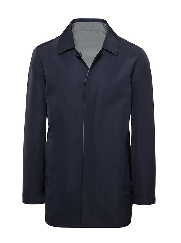 Navy Matte Polyester Reversible Raincoat