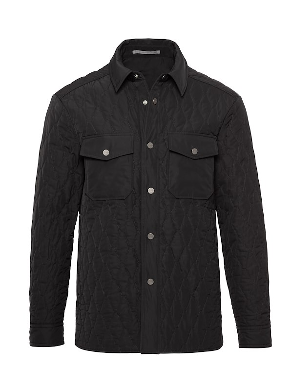 Black Matte Polyester Quilted Shirt Jacket