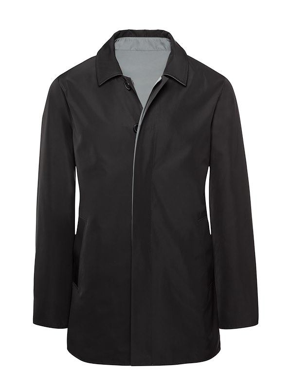 Black Matte Polyester Reversible Raincoat