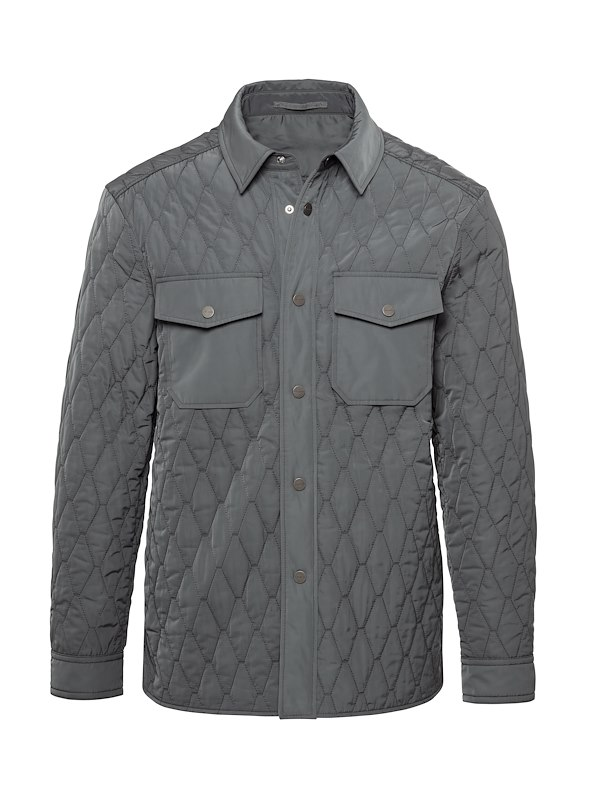 Grey Matte Polyester Quilted Shirt Jacket