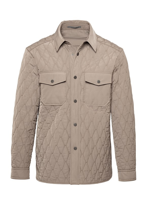 Taupe Matte Polyester Quilted Shirt Jacket