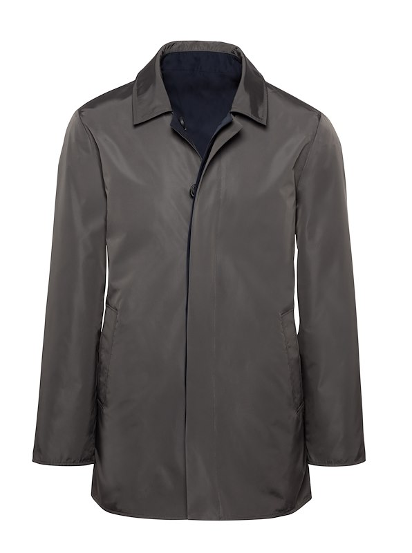 Charcoal Solid Nylon Reversible Raincoat