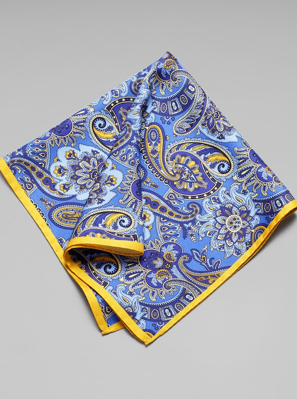 Silk Paisley Pocket Square - Royal