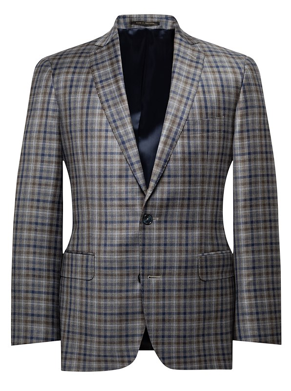 Blue Brown Windowpane Check
