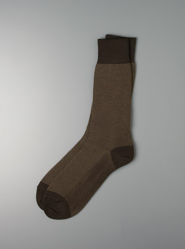 Luxury Pima Cotton Two Color Pindot Pique Socks - Brown