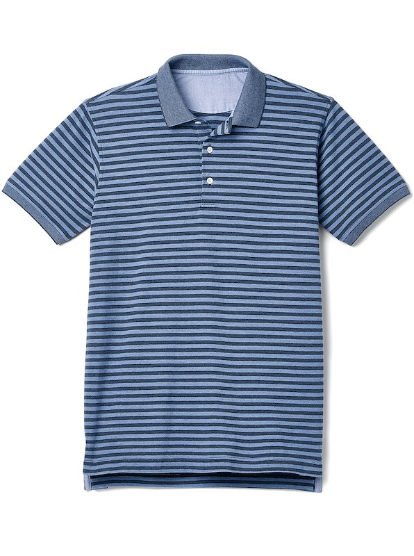 Slim Fit - Heathered Deck Stripe Polo - Dark Blue Stripe
