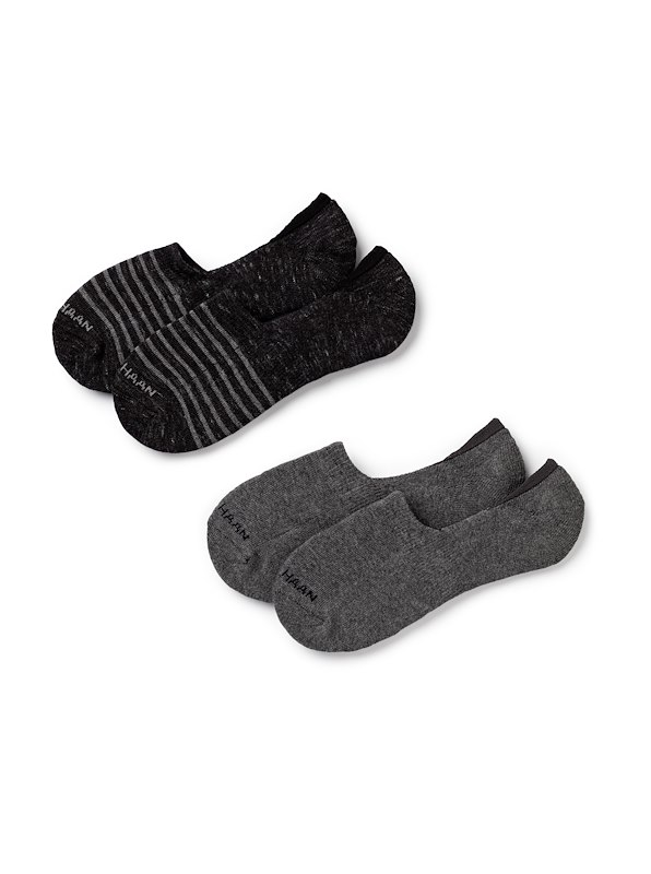 Cole Haan Cotton Twist Flat Knit Liner - 2 pack - Black Rain Heather/Charcoal