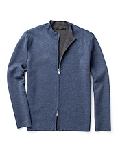 Double Face Extra Fine Merino Zip Jacket - Harbor Blue