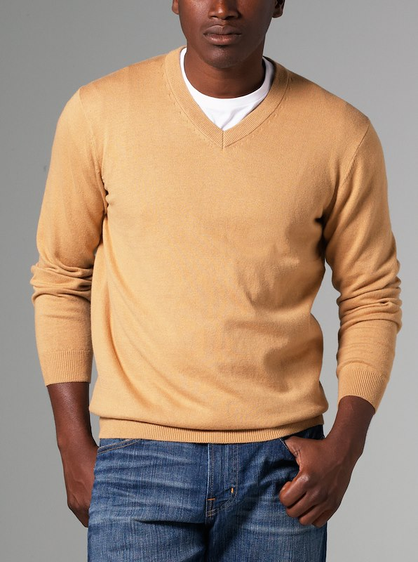 Luxury Blend Ivy V-Neck Sweater - Camel