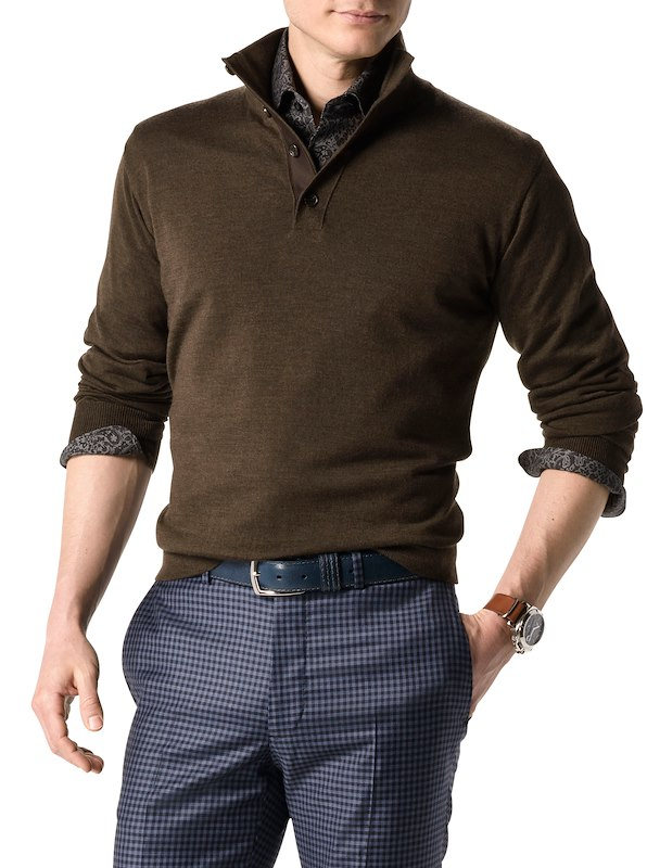 Button Mock Neck - Brown